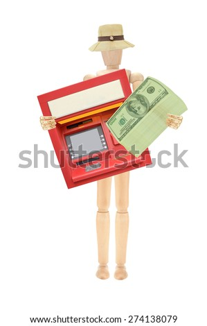 Wood Mannequin holding stack of one hundred dollar bills and ATM machine isolated on whit background - stock photo