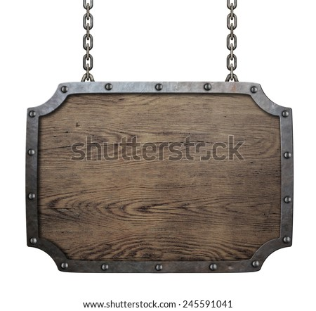 wood medieval sign hanging on chains isolated - stock photo