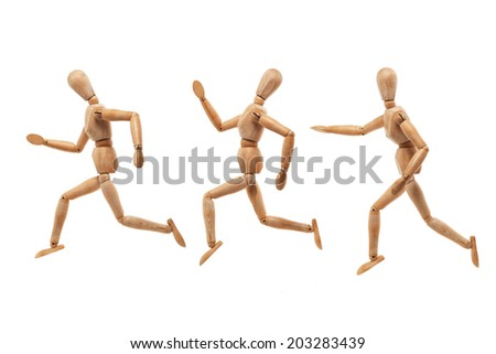 Wood men model with running and chasing pose isolated on white background
