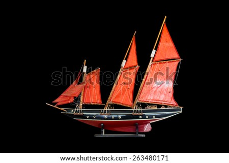 wood model barque, a type of sailing vessel, asia - stock photo
