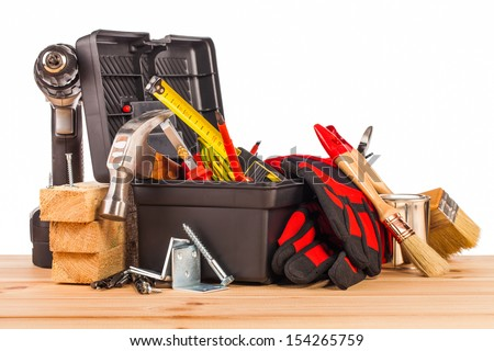 wood mounting tools  - stock photo