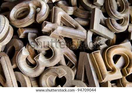 wood numbers style - stock photo