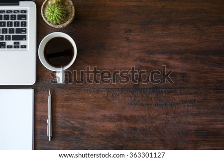 Wood Office Desk Table Laptop Cup Stock Photo 363301127 Shutterstock