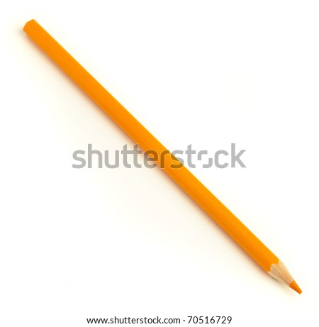 wood orange crayon isolated on a white background - stock photo