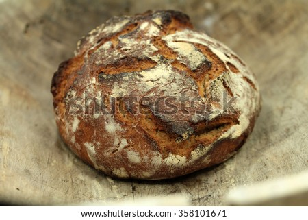 wood oven bread  - stock photo