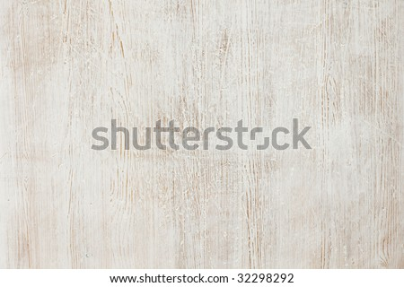 Wood painted white, worn and scratched background texture - stock photo