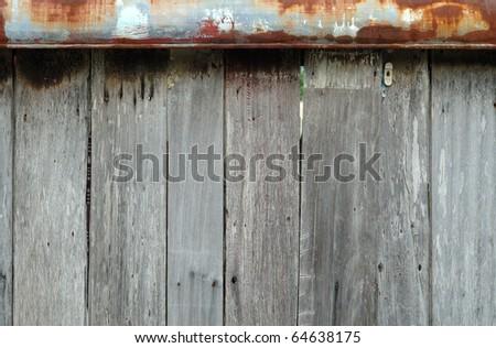 Wood Panel and Rust Metal. - stock photo