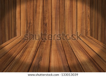Wood Panel Room for creative product placement - stock photo