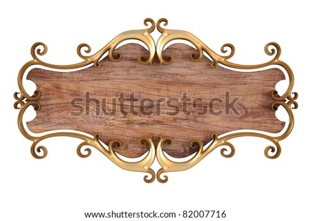 wood panel with gold forged frame. isolated on white. - stock photo