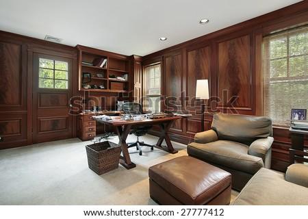Wood paneled office - stock photo