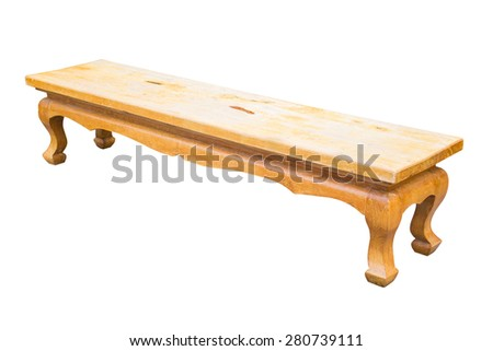 wood park bench isolated white background - stock photo