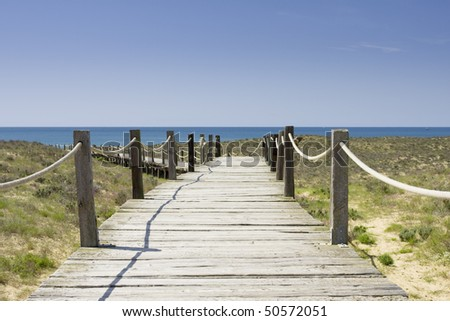 Wood path going to a wild and empty beach - stock photo