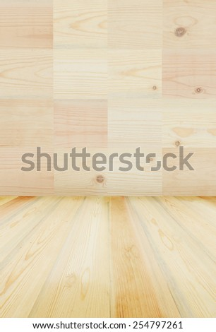 Wood pattern wall and floor or shelf background.