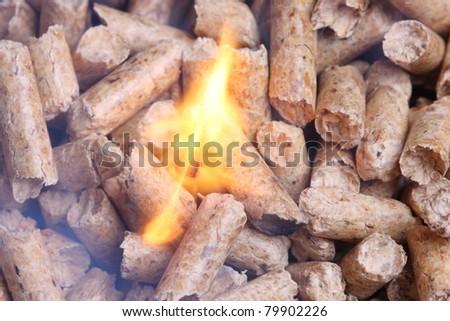Wood pellet heating - stock photo