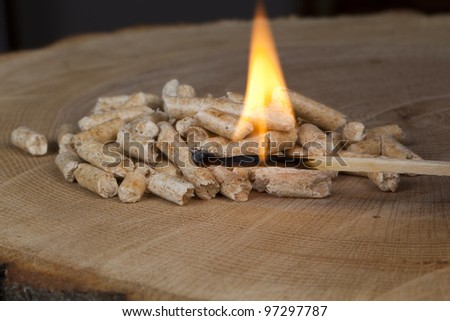 Wood pellets for fireplaces and stoves - stock photo