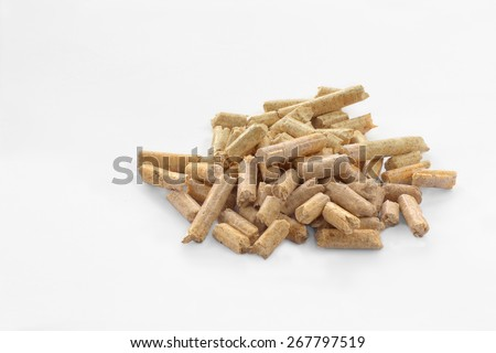 Wood pellets in a white background