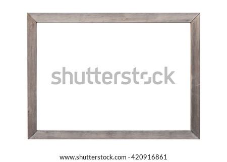 Wood photo frame isolated on white background - stock photo
