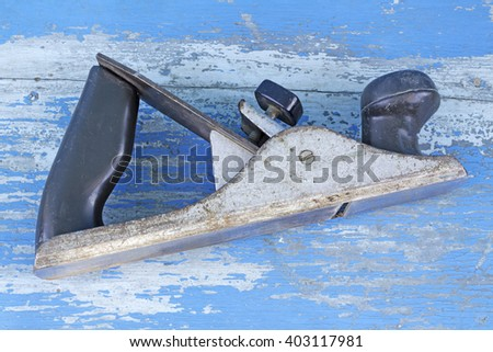 wood plane isolated on white background,carpenter tools,wood processing,Handicrafts - stock photo