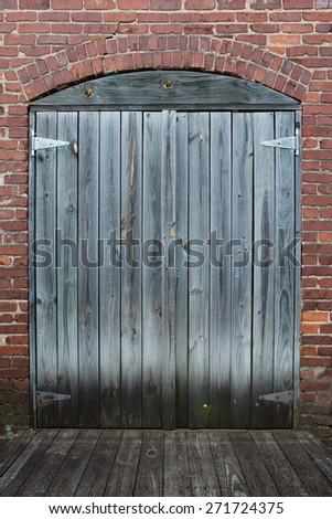 wood plank door background - stock photo