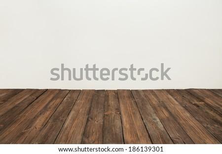 wood plank grain texture, wooden board striped fiber, old light background - stock photo