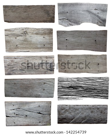 Wood plank isolated on white background, Set of objects with clipping paths for design work - stock photo