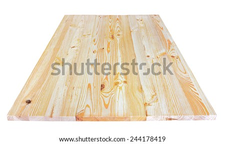 Wood plank wall texture perspective, isolated on white background - stock photo