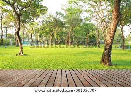 Wood planks floor near green garden - stock photo