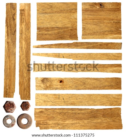 wood planks isolated on white background with clipping path