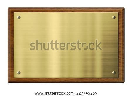 wood plaque with brass or gold metal plate isolated with clipping path included - stock photo