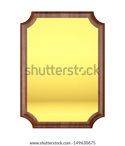 Wood plaque with Gold plate - stock photo