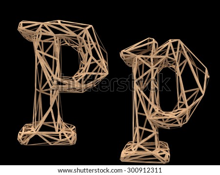 Wood polygon font