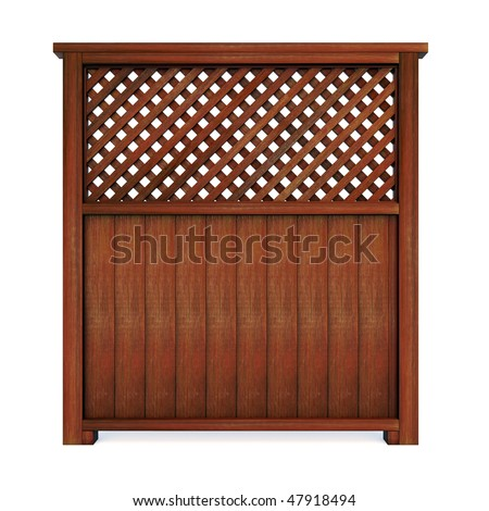 Wood privacy screen - stock photo