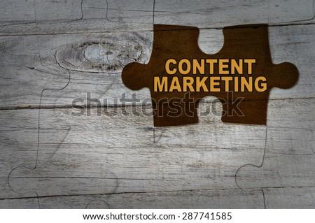 Wood Puzzle: Content Marketing - stock photo