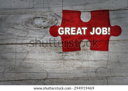 Wood Puzzle: Great Job - stock photo