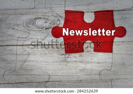 Wood Puzzle: Newsletter - stock photo