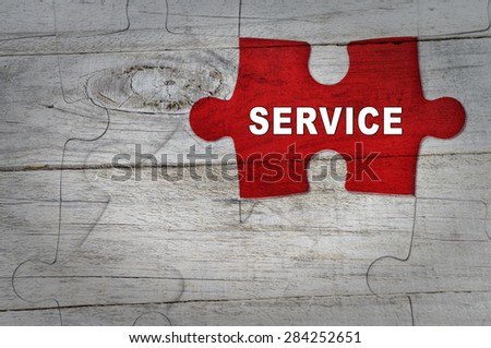 Wood Puzzle: Service - stock photo