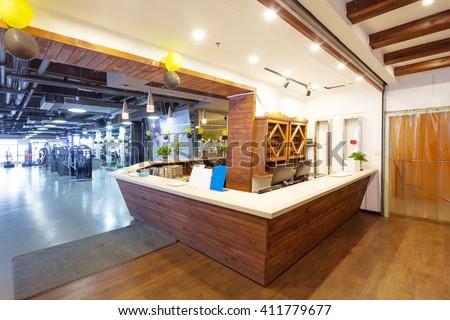 Wood Reception Desk Modern Gym Stock Photo Royalty Free