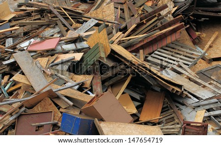wood recycling dump - stock photo