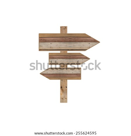 Wood road sign arrows isolated on white