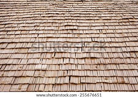 wood roof - stock photo