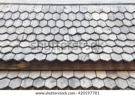 wood roof pattern  detail - stock photo