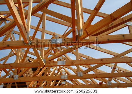 Wood roof structure - stock photo