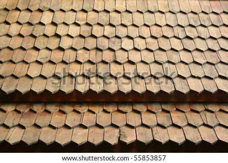Wood roof texture - stock photo