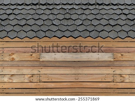 wood roof texture for background - stock photo