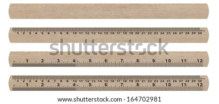 wood ruler isolated over a white background   (with clipping work path) - stock photo
