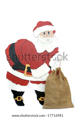 wood santa claus isolated in white - stock photo