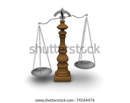 Wood scales with silver cups - stock photo