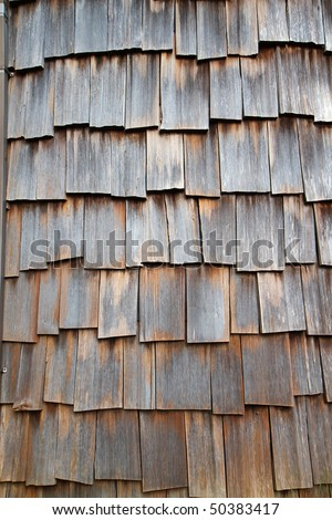 Wood Shake Wall on a curved surface - stock photo