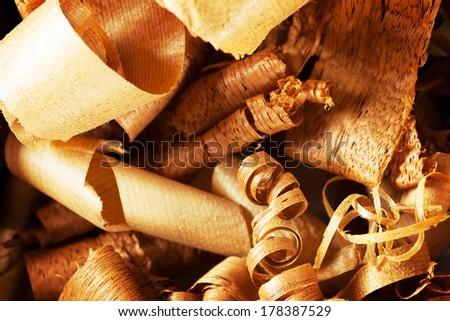 Wood shavings in variety of wood. - stock photo