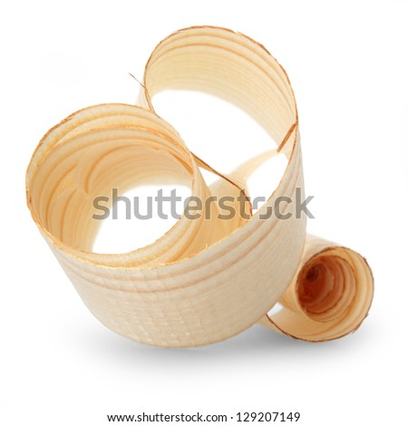 Wood shavings isolated on white background - stock photo